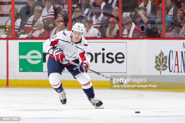 Dmitry Orlov of the Washington Capitals skates with the puck against the Ottawa Senators at Canadian Tire Centre on October 5 2017 in Ottawa Ontario...