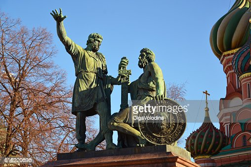 Dmitry Pozharsky and Kuzma Minin monument on Red Square : Bildbanksbilder
