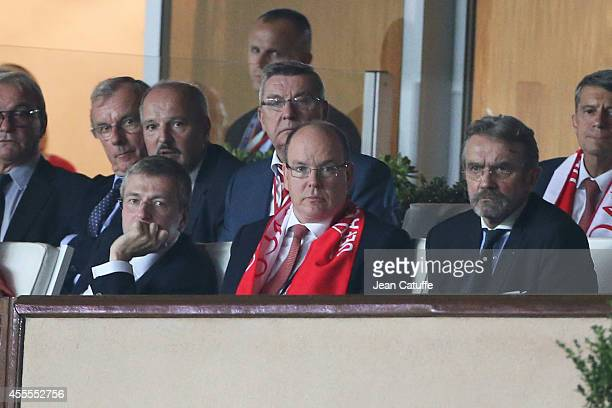 Dmitry Rybolovlev President of AS Monaco Prince Albert II of Monaco and Frederic Thiriez President of the French League attend the UEFA Champions...