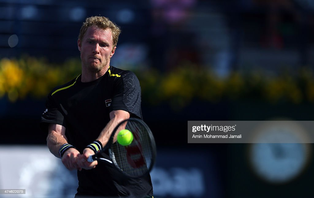 Dmitry Tursunov of Russia during their first round match of the Dubai Duty Free Tennis ATP Championships in Dubai bitween Lukas Lacko of Slovakia and Dmitry Tursunov, on February 24, 2014 in Dubai, United Arab Emirates.