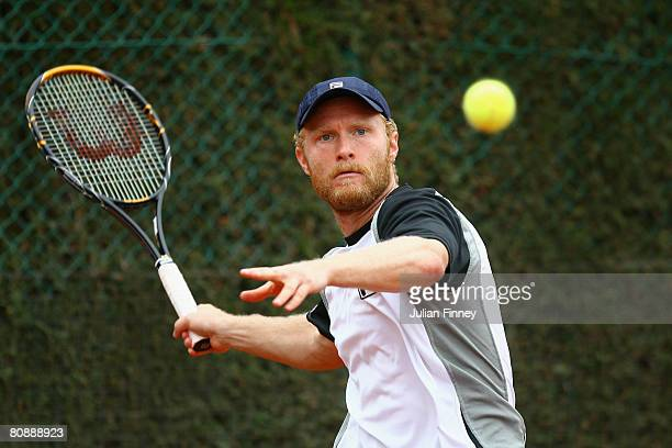 Dmitry Tursunov of Russia plays a forehand in his match against Kevin Anderson of South Africa during the Open Sabadell Atlantico Barcelona 2008...
