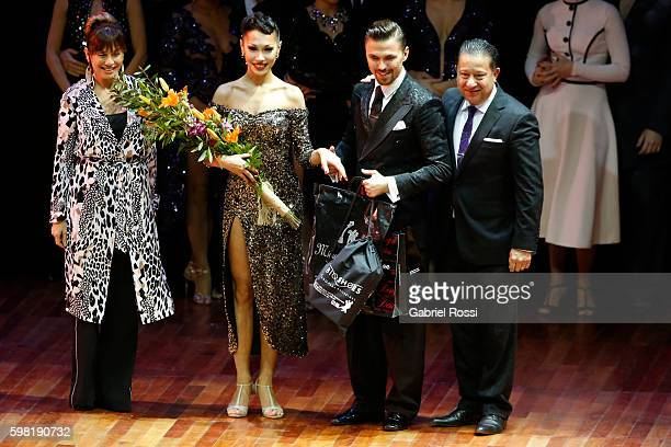 Dmitry Vasin and Sagdiana Khamzina of Russia celebrate after winning the fifth place on the Stage Tango Final as part of Buenos Aires Tango Festival...