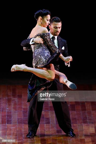 Dmitry Vasin and Sagdiana Khamzina of Russia dance during the Stage Tango Final as part of Buenos Aires Tango Festival World Championship 2016 at...