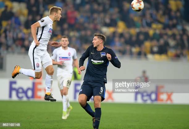 Dmytro Grechyshkin of FC Zorya Luhansk and Niklas Stark of Hertha BSC during the Europa League group J game between Zorya Luhansk against Hertha BSC...