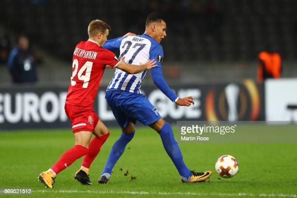 Dmytro Grechyshkin of Zorya Luhansk and Davie Selke of Hertha BSC Berlin in action during the UEFA Europa League group J match between Hertha BSC and...