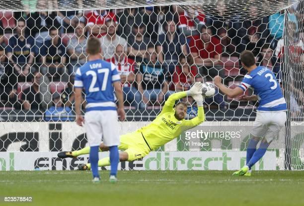 Dmytro Lopa of NK Osijek Jeroen Zoet of PSV Borna Barisic of NK Osijek during the UEFA Europa League third qualifying round first leg match between...