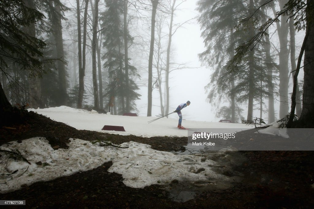 Dmytro Shulga of Ukraine competes in the Men's 12.5km Visually Impaired Biathlon during day four of Sochi 2014 Paralympic Winter Games at Laura Cross-country Ski & Biathlon Center on March 11, 2014 in Sochi, Russia.