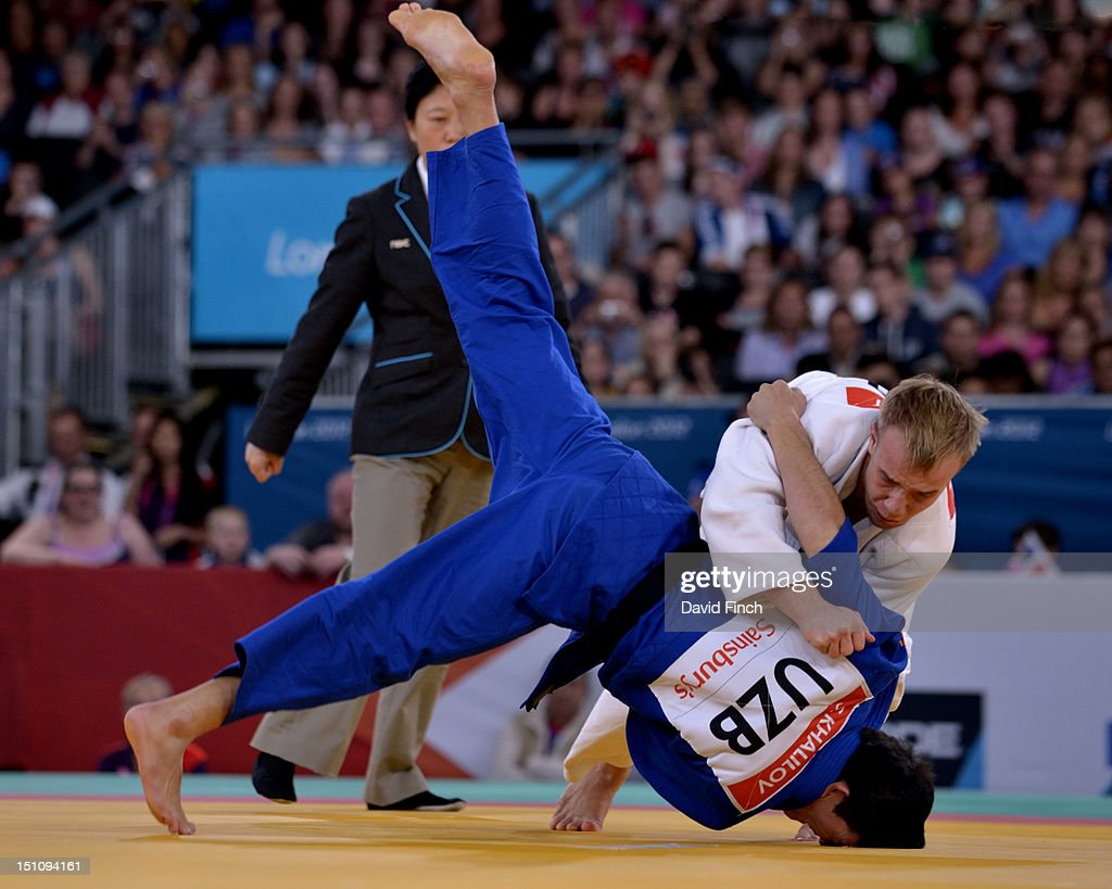 Dmytro Solovey of Ukraine (white) defeated Sharif Kurbanov of Russia with this throw for ippon (10 points) in the u73kgs final on Day 2 of the London 2012 Paralympic Games at the ExCeL on August 31, 2012 in London, England.