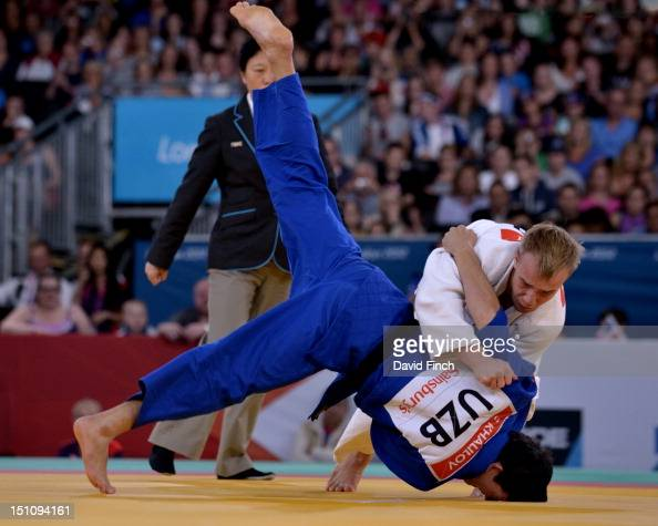 Dmytro Solovey of Ukraine defeated Sharif Kurbanov of Russia with this throw for ippon in the u73kgs final on Day 2 of the London 2012 Paralympic...