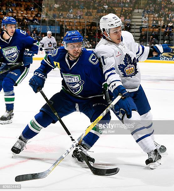 Dmytro Timashov of the Toronto Marlies battles with Chad Billins of the Utica Comets during game action on November 26 2016 at Air Canada Centre in...