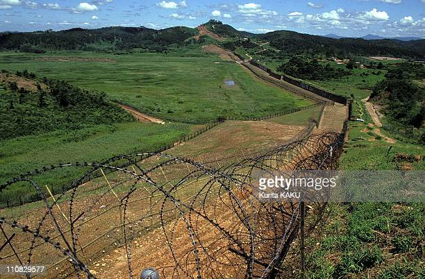 Dmz Line At Demilitarized Zone Between South And North Korea In South Korea On August 17 1990