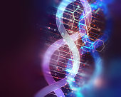 dna molecules on abstract technology background , concept of biochemistriy and genetic theory.