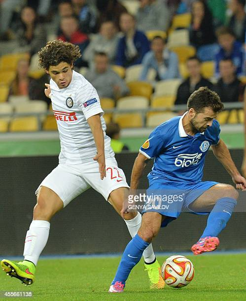 FC Dnipro Dnipropetrovsk's Bruno Gama vies with Internazionale Milan's Dodo during the UEFA Europa League Group F football match FC Dnipro...