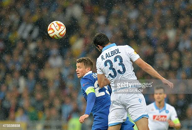 FC Dnipro's Ruslan Rotan vies with SSC Napoli Raúl Albiol during the UEFA Europa League semifinal second leg football match FC Dnipro vs SSC Napoli...