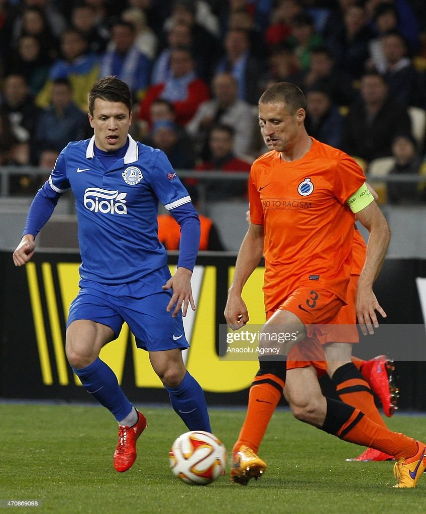 FC Dnipro's <a gi-track='captionPersonalityLinkClicked' href=/galleries/search?phrase=Yevhen+Konoplyanka&family=editorial&specificpeople=7175416 ng-click='$event.stopPropagation()'>Yevhen Konoplyanka</a> (L) in action against <a gi-track='captionPersonalityLinkClicked' href=/galleries/search?phrase=Timmy+Simons&family=editorial&specificpeople=794114 ng-click='$event.stopPropagation()'>Timmy Simons</a> (R) of Club Brugge during the UEFA Europa League second leg quarter-final football match between FC Dnipro Dnipropetrovsk and Club Brugge KV, in Kiev on April 23, 2015.