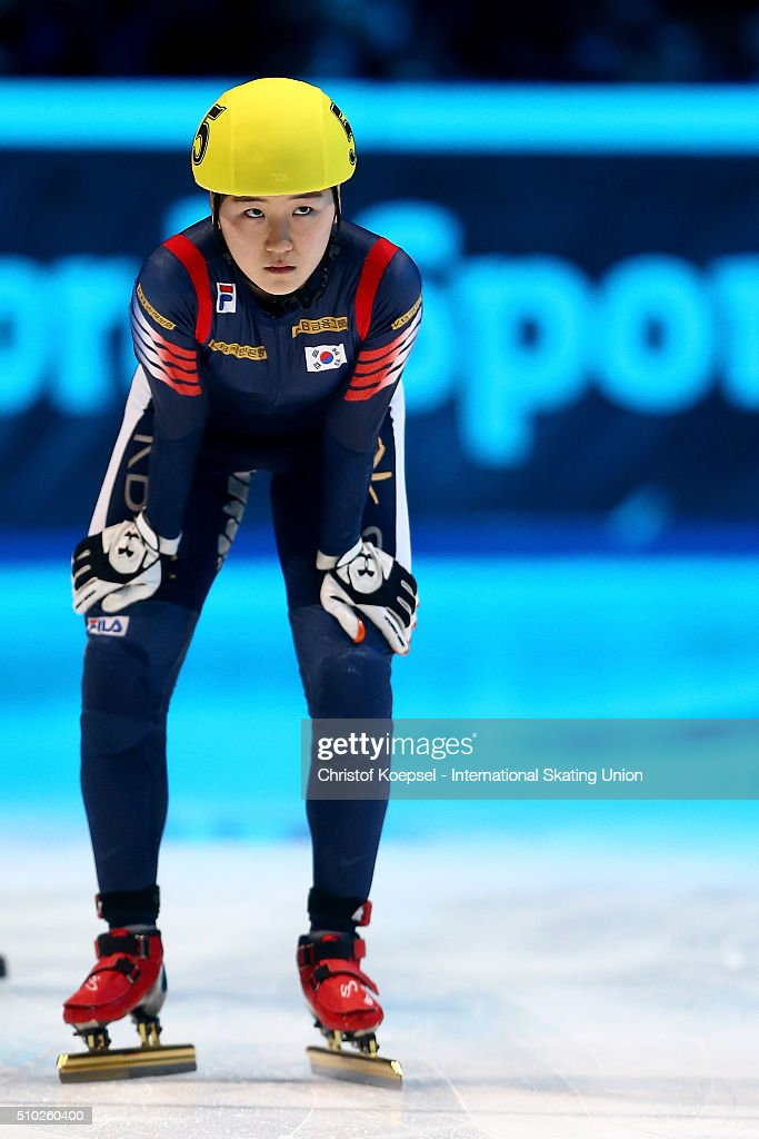 Do Hee Noh of Korea prepares prior to the ladies 1000m semifinal second race heat one during Day 3 of ISU Short Track World Cup at Sportboulevard on February 14, 2016 in Dordrecht, Netherlands.