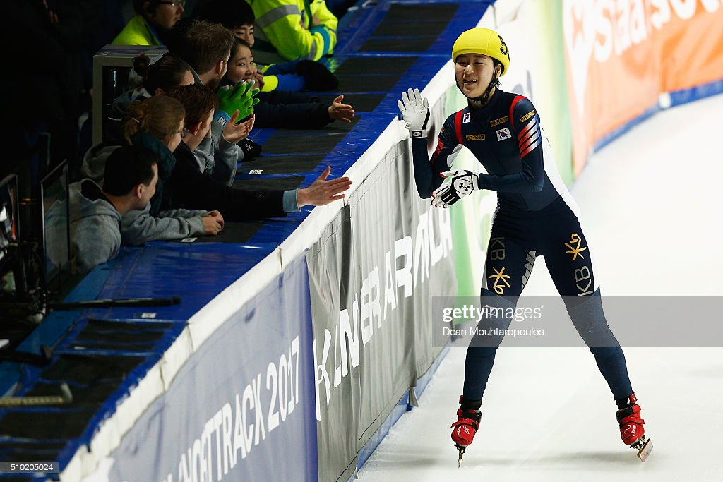 Do Hee Noh of South Korea celebrates winning the gold medal in the Ladies 1000m Final during ISU Short Track Speed Skating World Cup held at The Sportboulevard on February 14, 2016 in Dordrecht, Netherlands.