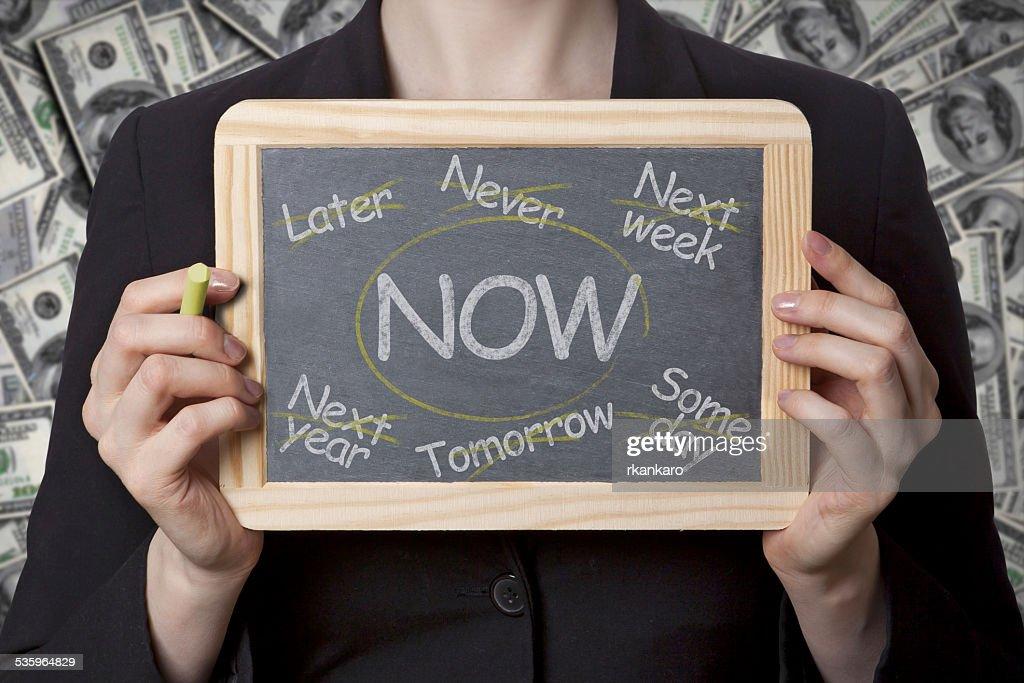 Do it now black board : Stock Photo