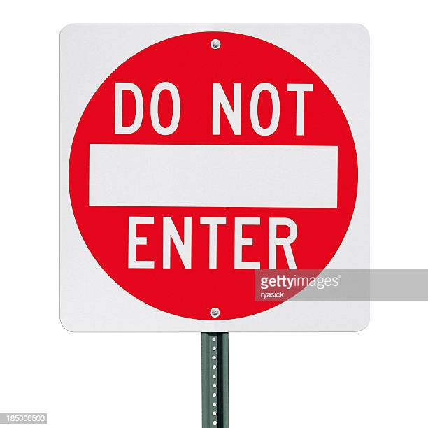Do Not Enter Sign Post Isolated with Clipping Path