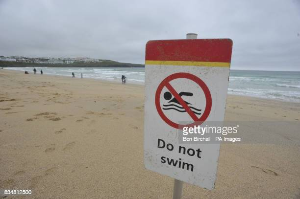 A do not swim sign on Fistral Beach Newquay