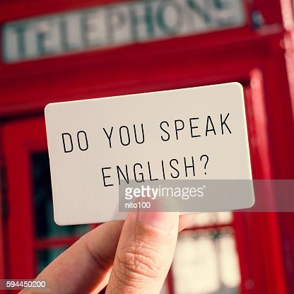 do you speak english? in a signboard : Stock Photo