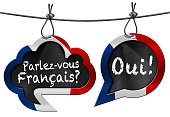 Two speech bubbles with French flag and text Parlez-vous Francais? Oui! (Do you speak French?)