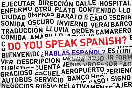 Do you speak Spanish banner across jumbled Spanish words