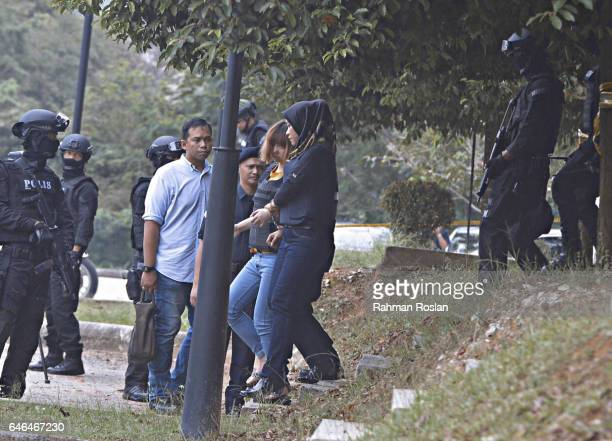 Doan Thi Huong one of the suspect leaves under heavy security presence at Sepang Magistrate Court on March 1 2017 in Sepang Selangor Kim Jongnam the...