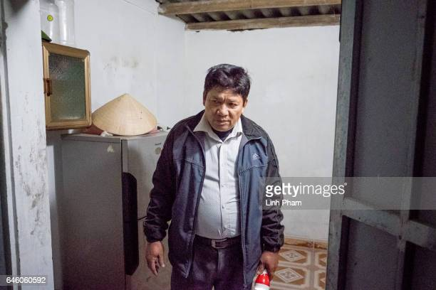 Doan Van Thanh father of Doan Thi Huong returns home after the Sunday service at Phuong Lac church on February 27 2017 in Nghia Binh a village 130km...