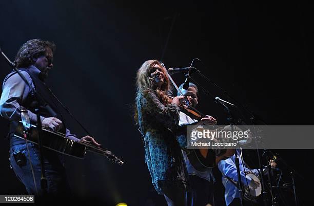Dobro player Jerry Douglas vocalist and fiddler Alison Krauss guitarist and vocalist Dan Tyminski and banjo player Ron Block of Alison Krauss Union...