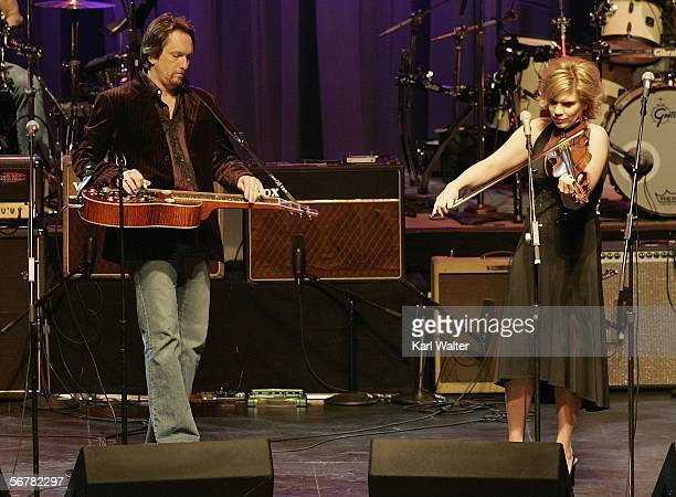 Dobroist Jerry Douglas and Alison Krauss perform at the Les Paul Birthday Celebration show at Gibson Amphitheatre at Universal CityWalk on February 7...