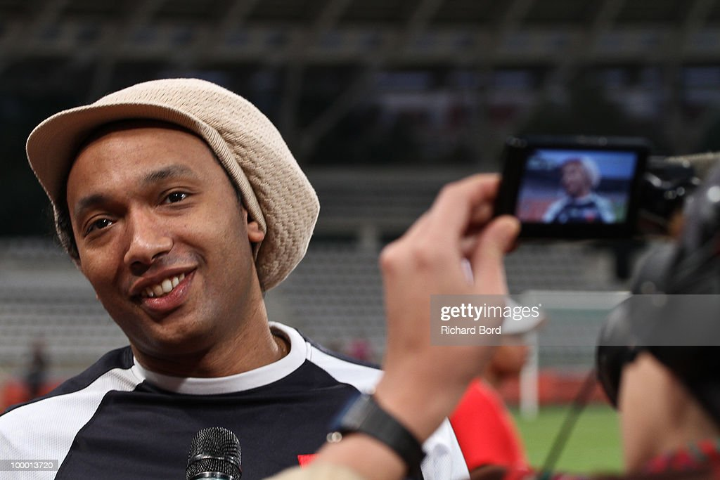 Doc Gyneco gives an interview during the World Charity Soccer 2010 Charity Match for Haiti at Stade Charlety on May 19, 2010 in Paris, France.
