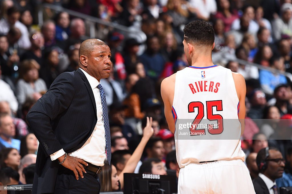 Doc Rivers and Austin Rivers #25 of the LA Clippers talk during the game against the Phoenix Suns on October 31, 2016 at the STAPLES Center in Los Angeles, California.