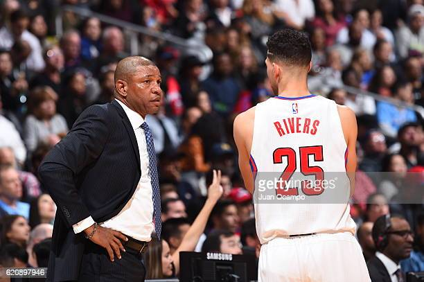 Doc Rivers and Austin Rivers of the LA Clippers talk during the game against the Phoenix Suns on October 31 2016 at the STAPLES Center in Los Angeles...
