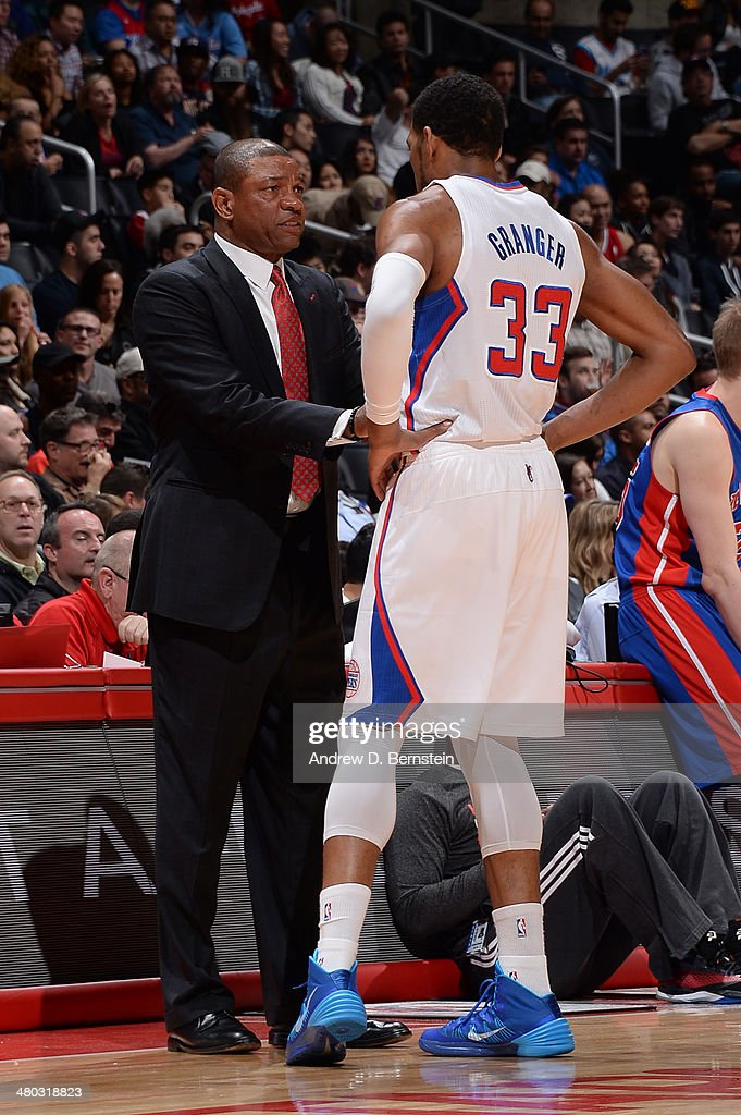 Doc Rivers and Danny Granger #33 of the Los Angeles Clippers converse during a game against the Detroit Pistons at STAPLES Center on March 22, 2014 in Los Angeles, California.