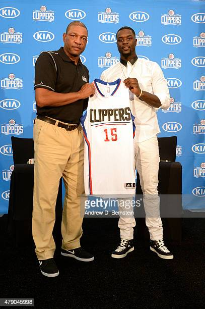 Doc Rivers and Lance Stephenson pose for a portrait at the Los Angeles Clippers training facility in Playa Vista California on June 18 2015 NOTE TO...