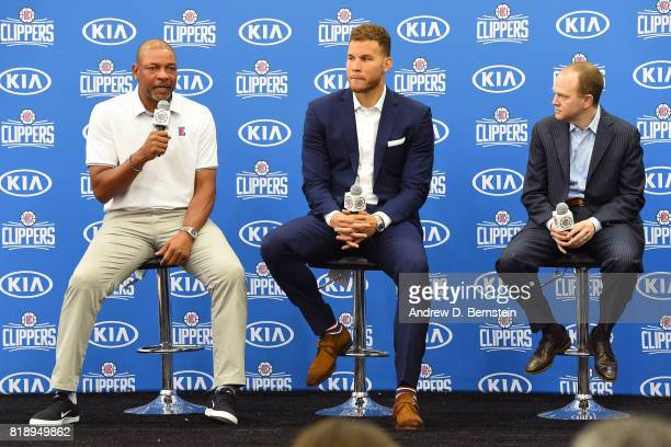 Doc Rivers and Lawrence Frank of the LA Clippers hold a press conference to announce the resigning of Blake Griffin in Playa Vista California on July...