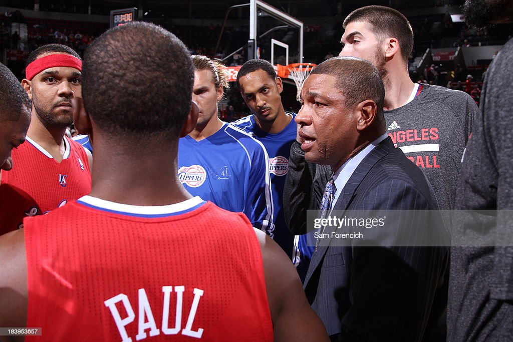<a gi-track='captionPersonalityLinkClicked' href=/galleries/search?phrase=Doc+Rivers&family=editorial&specificpeople=206225 ng-click='$event.stopPropagation()'>Doc Rivers</a> and the Los Angeles Clippers huddle up before the game against the Portland Trail Blazers on October 7, 2013 at the Moda Center Arena in Portland, Oregon.