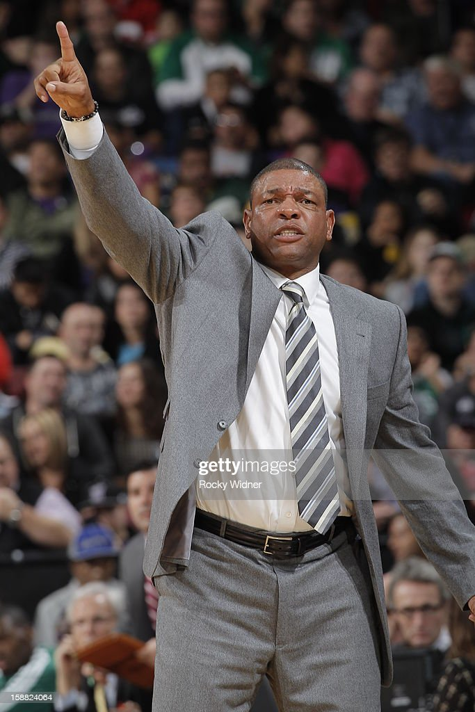 Doc Rivers, head coach of the Boston Celtics, calls out the play from the sideline against the Sacramento Kings on December 30, 2012 at Sleep Train Arena in Sacramento, California.