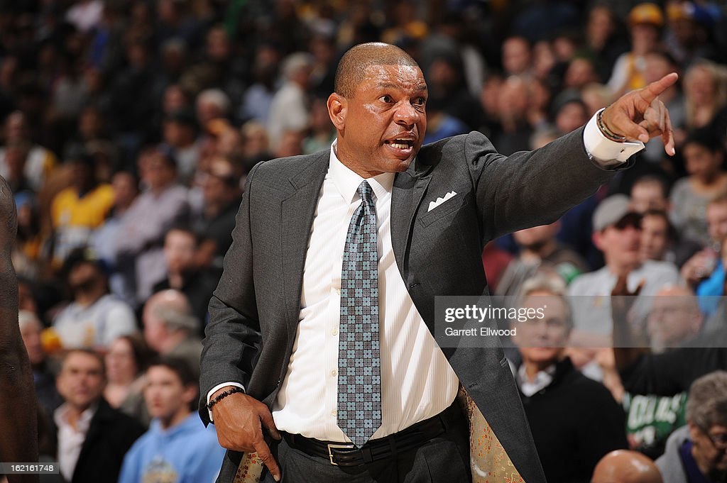 <a gi-track='captionPersonalityLinkClicked' href=/galleries/search?phrase=Doc+Rivers&family=editorial&specificpeople=206225 ng-click='$event.stopPropagation()'>Doc Rivers</a>, Head Coach of the Boston Celtics, directs his team against the Denver Nuggets on February 19, 2013 at the Pepsi Center in Denver, Colorado.