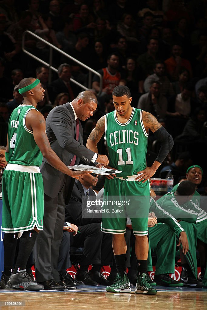 <a gi-track='captionPersonalityLinkClicked' href=/galleries/search?phrase=Doc+Rivers&family=editorial&specificpeople=206225 ng-click='$event.stopPropagation()'>Doc Rivers</a>, Head coach of the Boston Celtics, instructs <a gi-track='captionPersonalityLinkClicked' href=/galleries/search?phrase=Jason+Terry&family=editorial&specificpeople=201734 ng-click='$event.stopPropagation()'>Jason Terry</a> #4 and <a gi-track='captionPersonalityLinkClicked' href=/galleries/search?phrase=Courtney+Lee&family=editorial&specificpeople=730223 ng-click='$event.stopPropagation()'>Courtney Lee</a> #11 during a break in play against the New York Knicks on January 7, 2013 at Madison Square Garden in New York City.