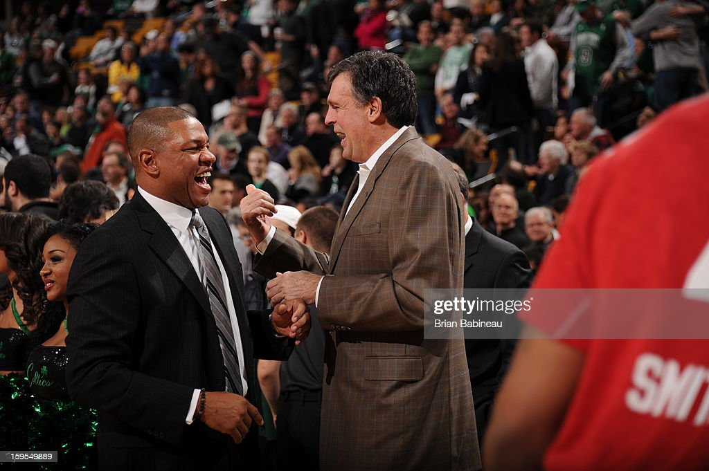 <a gi-track='captionPersonalityLinkClicked' href=/galleries/search?phrase=Doc+Rivers&family=editorial&specificpeople=206225 ng-click='$event.stopPropagation()'>Doc Rivers</a>, Head Coach of the Boston Celtics, shares a laugh with <a gi-track='captionPersonalityLinkClicked' href=/galleries/search?phrase=Kevin+McHale+-+Giocatore+di+basket&family=editorial&specificpeople=212851 ng-click='$event.stopPropagation()'>Kevin McHale</a>, Head Coach of the Houston Rockets, before the game on January 11, 2013 at the TD Garden in Boston, Massachusetts.