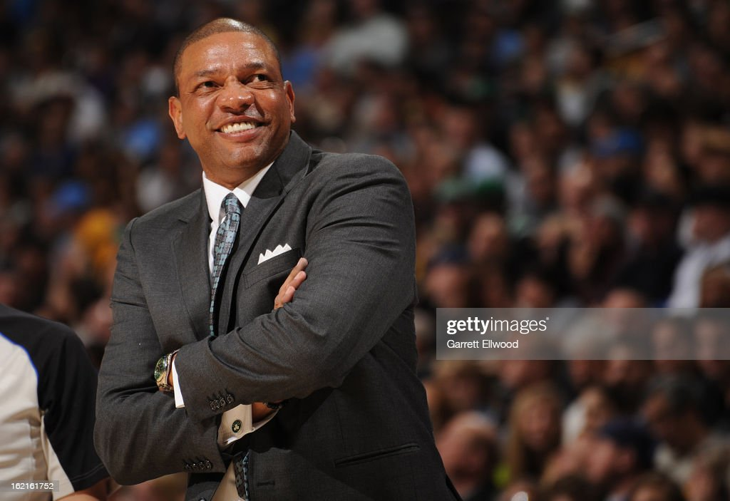<a gi-track='captionPersonalityLinkClicked' href=/galleries/search?phrase=Doc+Rivers&family=editorial&specificpeople=206225 ng-click='$event.stopPropagation()'>Doc Rivers</a>, Head Coach of the Boston Celtics, smiles during the game against the Denver Nuggets on February 19, 2013 at the Pepsi Center in Denver, Colorado.