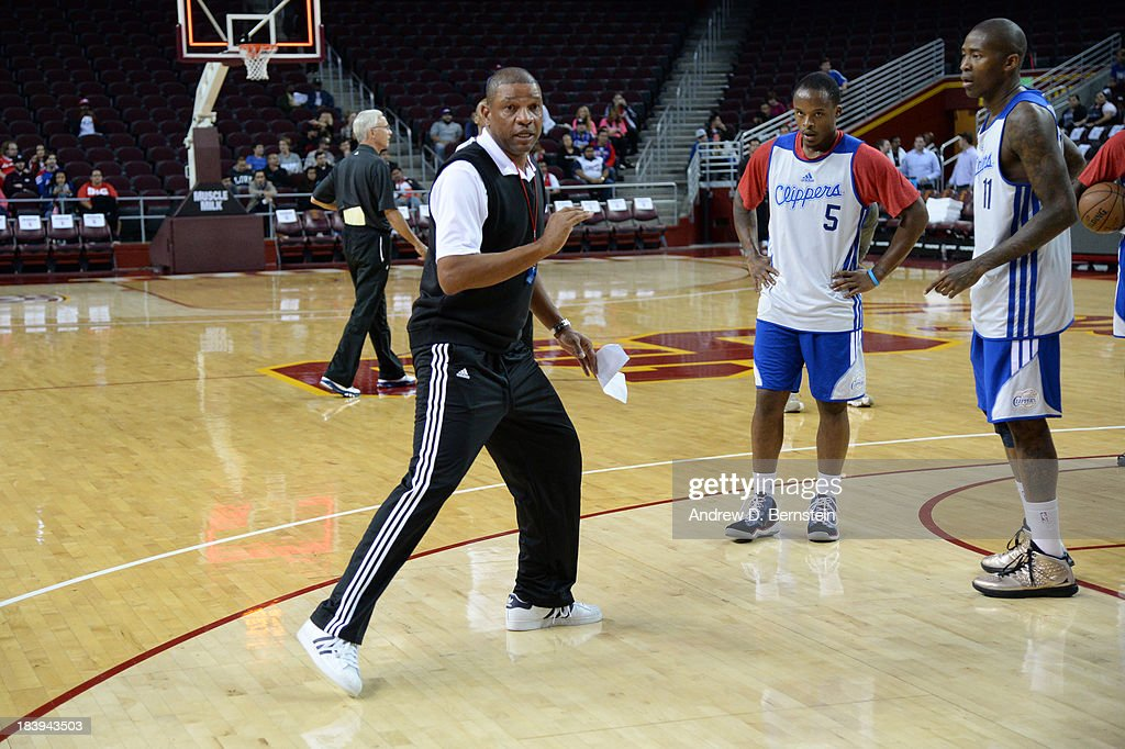 Doc Rivers, head coach of the Los Angeles Clippers instructs his team during an open scrimmage at Galen Center on October 9, 2013 in Los Angeles, California.