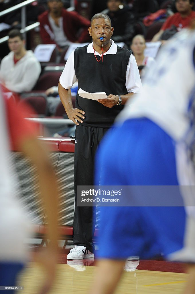 Doc Rivers, head coach of the Los Angeles Clippers watches from the sideline as his team participates in an open scrimmage at Galen Center on October 9, 2013 in Los Angeles, California.