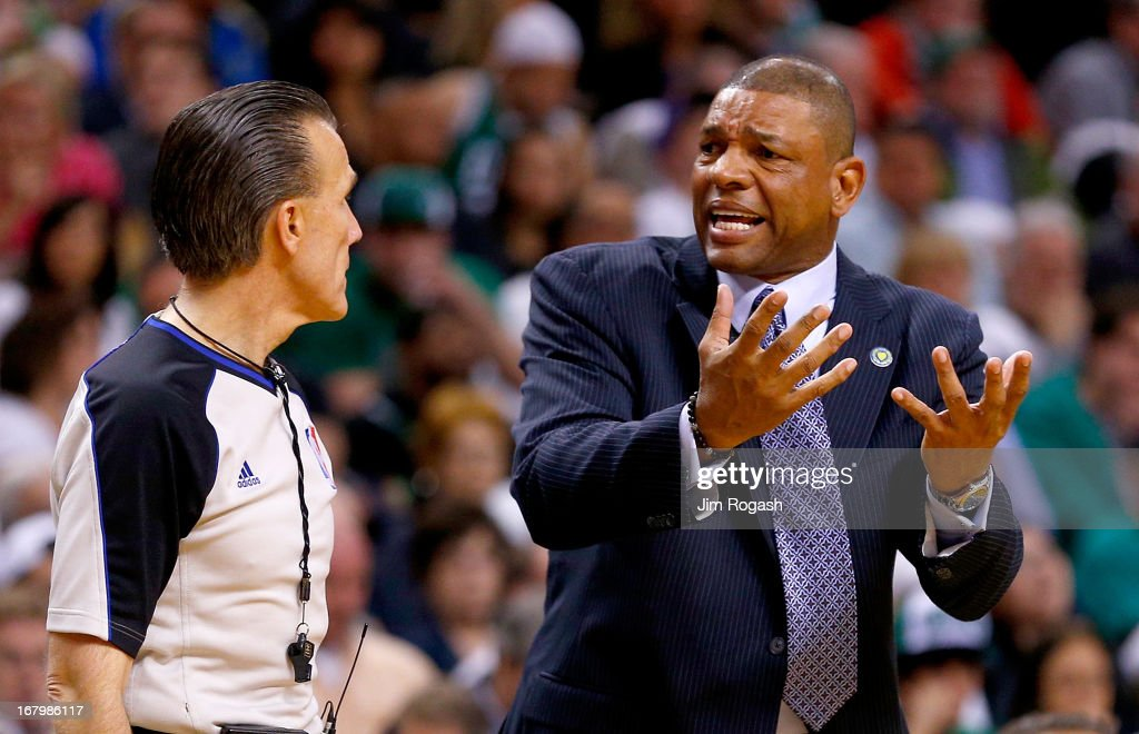 Doc Rivers of the Boston Celtics argues a call by an official in the second half during Game Six of the Eastern Conference Quarterfinals of the 2013 NBA Playoffs on May 3, 2013 at TD Garden in Boston, Massachusetts.