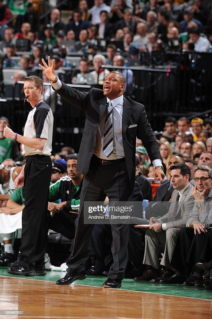 Doc Rivers of the Boston Celtics calls out a play during the game against the Los Angeles Lakers on February 7, 2013 at the TD Garden in Boston, Massachusetts.