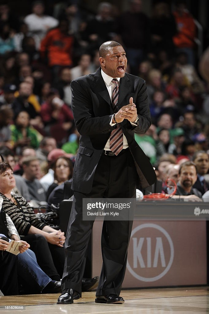 <a gi-track='captionPersonalityLinkClicked' href=/galleries/search?phrase=Doc+Rivers&family=editorial&specificpeople=206225 ng-click='$event.stopPropagation()'>Doc Rivers</a> of the Boston Celtics calls plays from the bench against the Cleveland Cavaliers at The Quicken Loans Arena on January 22, 2013 in Cleveland, Ohio.