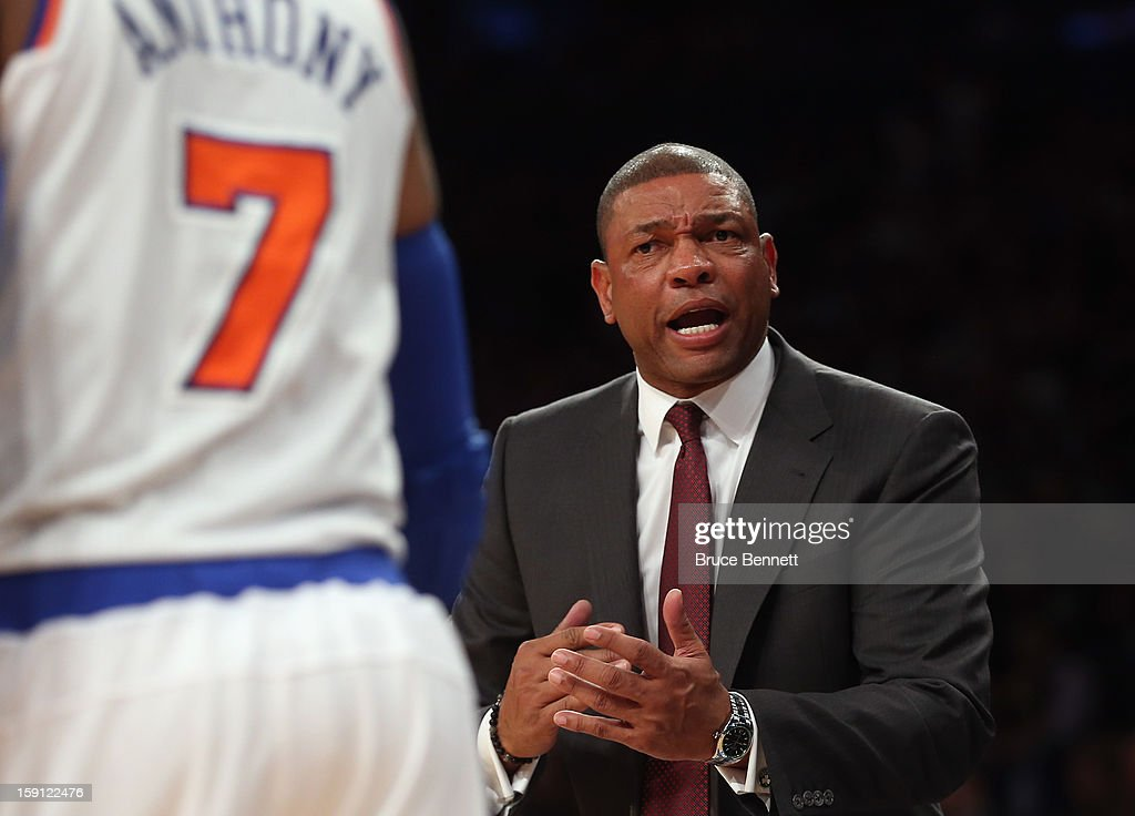 Doc Rivers of the Boston Celtics handles bench duties against the New York Knicks at Madison Square Garden on January 7, 2013 in New York City.