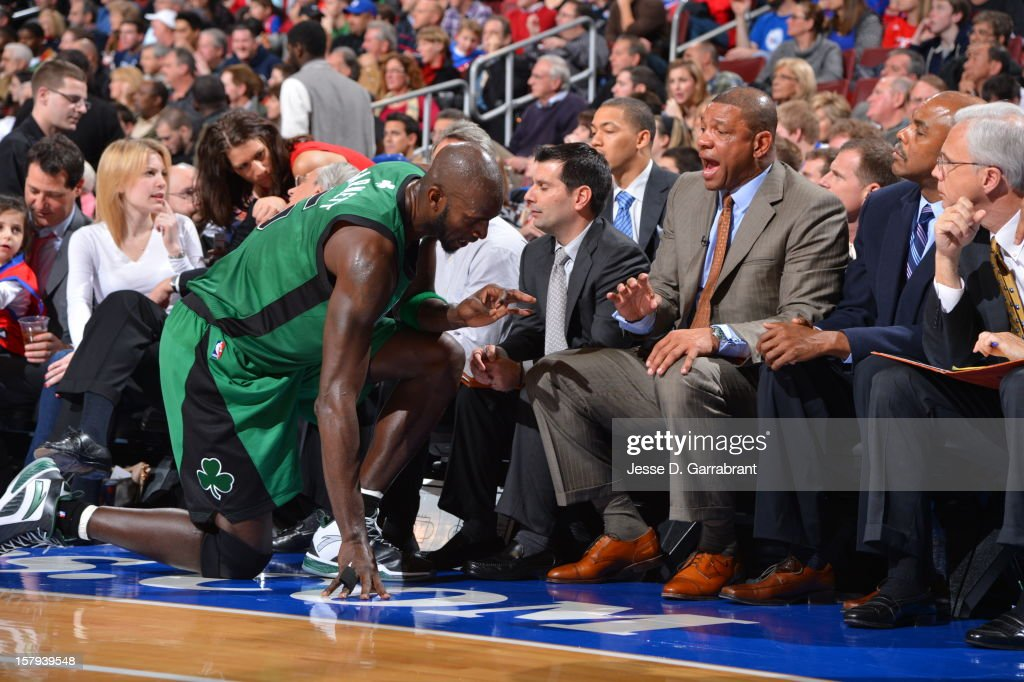 Doc Rivers of the Boston Celtics has words with Kevin Garnett #5 during the game against the Philadelphia 76ers at the Wells Fargo Center on December 7, 2012 in Philadelphia, Pennsylvania.